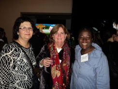 Constantina Kalimeris, illustrator (left), Maya Byers owner of Babar Books, and Carol Ann Hoyte, poet (right)