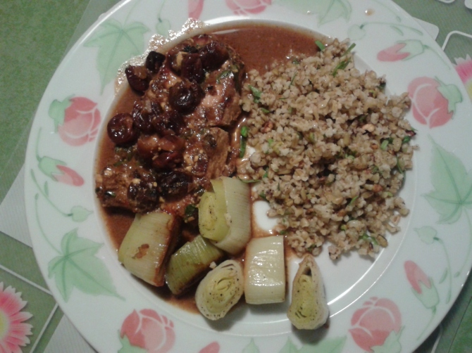 Sour Cherry Glazed Pork Chops with Roasted Leeks and Tarragon Freekeh
